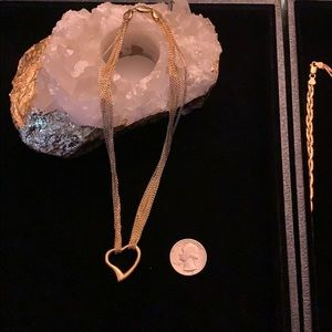 Gold over Silver Heart chain $200